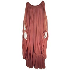 1970s Galanos Silk Chiffon Mauve 2-piece Jumpsuit and Chiffon Tunic
