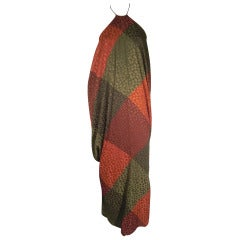 1970s Galanos Plaid Silk Jacquard Halter Gown