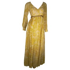 "1970s Malcolm Starr Organza ""Bollywood"" Style Maxi Dress with Gold Stars"