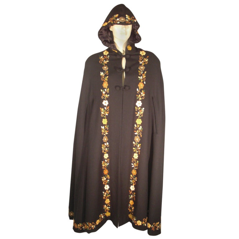 1970s Lightweight Wool Cape with Lovely Crewel Work Back Panel and Hood 1