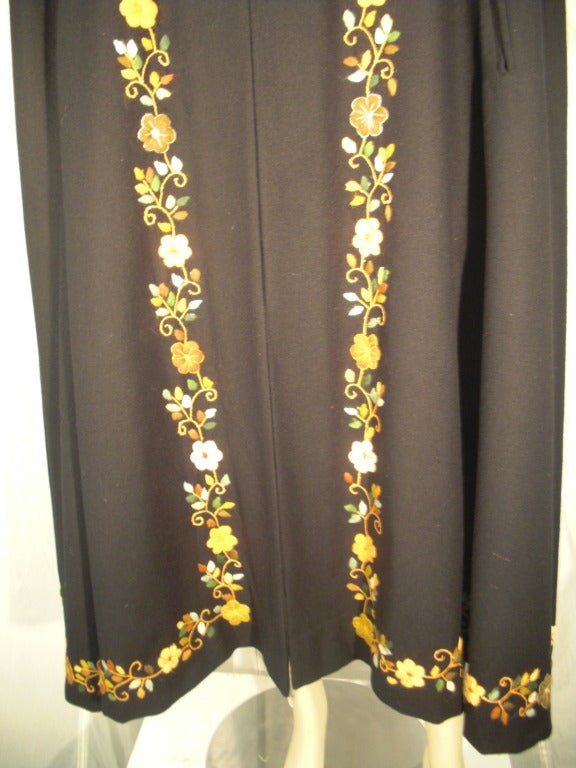 1970s Lightweight Wool Cape with Lovely Crewel Work Back Panel and Hood For Sale 1