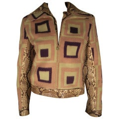 1980s Gianni Versace Felted Wool Mod Print Jacket with Snakeskin Trim