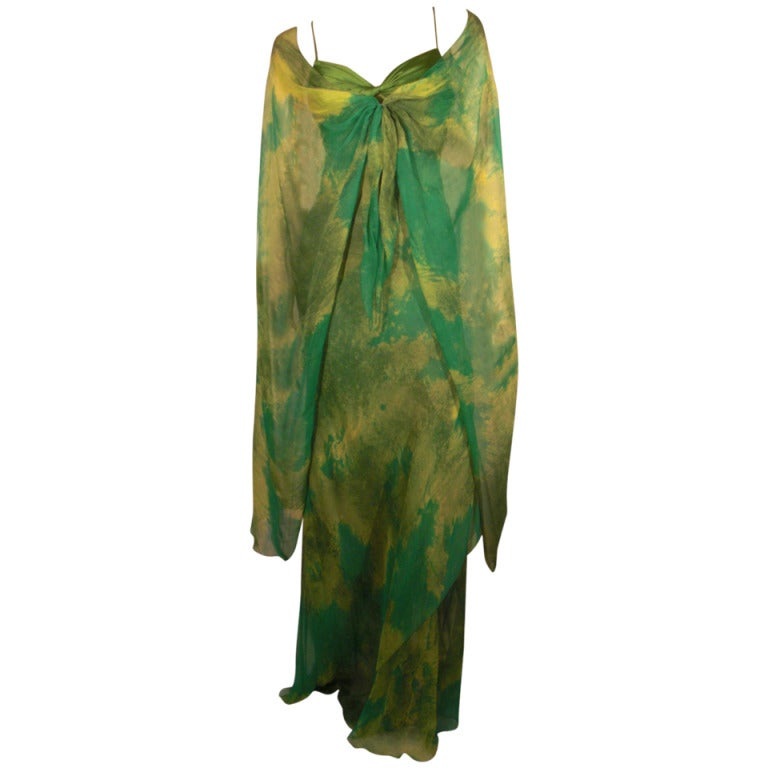 1970s Galanos Silk Chiffon Print Gown with Chiffon Overlay For Sale