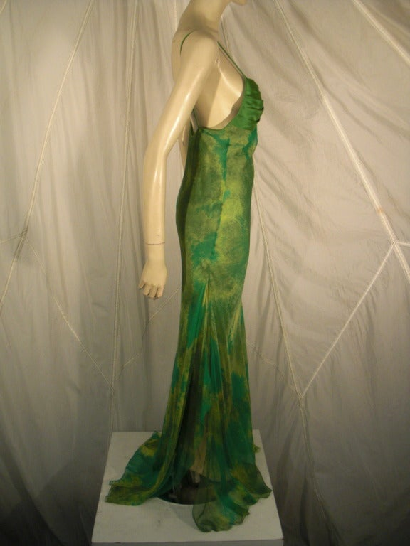 1970s Galanos Silk Chiffon Print Gown with Chiffon Overlay In Excellent Condition For Sale In San Francisco, CA