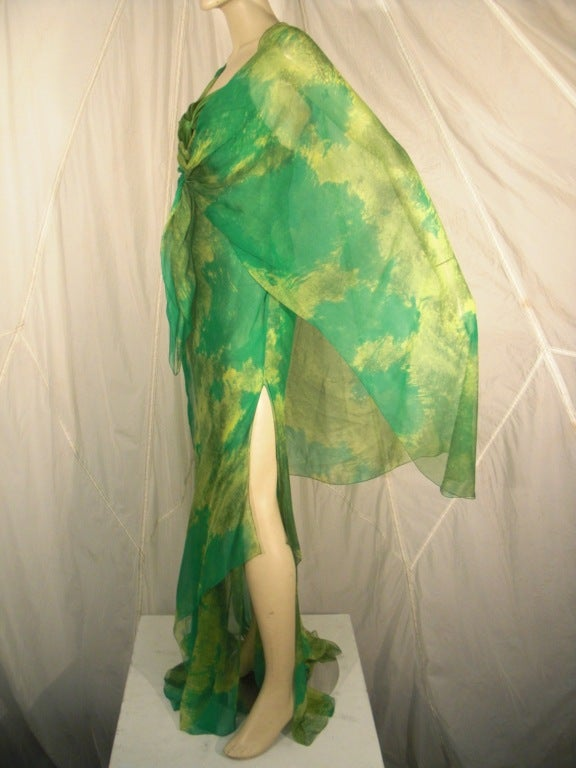 Women's 1970s Galanos Silk Chiffon Print Gown with Chiffon Overlay For Sale