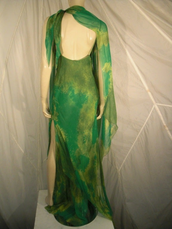 1970s Galanos Silk Chiffon Print Gown with Chiffon Overlay For Sale 2