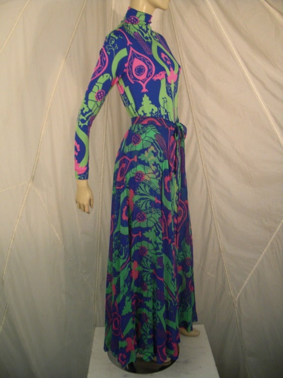 1970s La Mendola Silk Jersey Gown with Chiffon Overskirt in Neo-Classical Print 2
