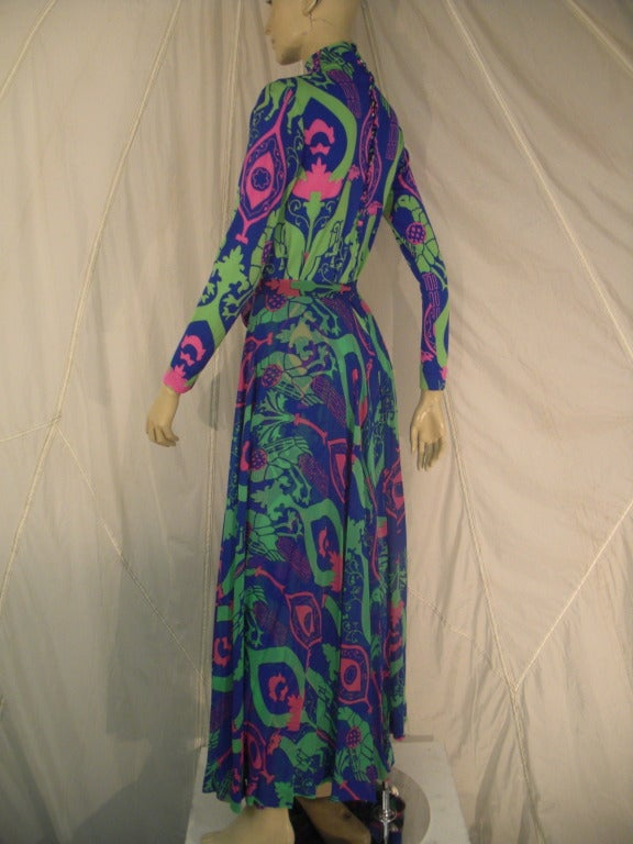 1970s La Mendola Silk Jersey Gown with Chiffon Overskirt in Neo-Classical Print 3
