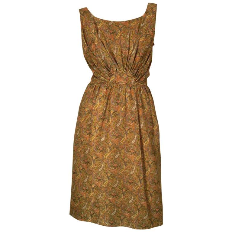 1960s Paisley Lurex Cocktail Dress w/ Matching Jeweled Turban