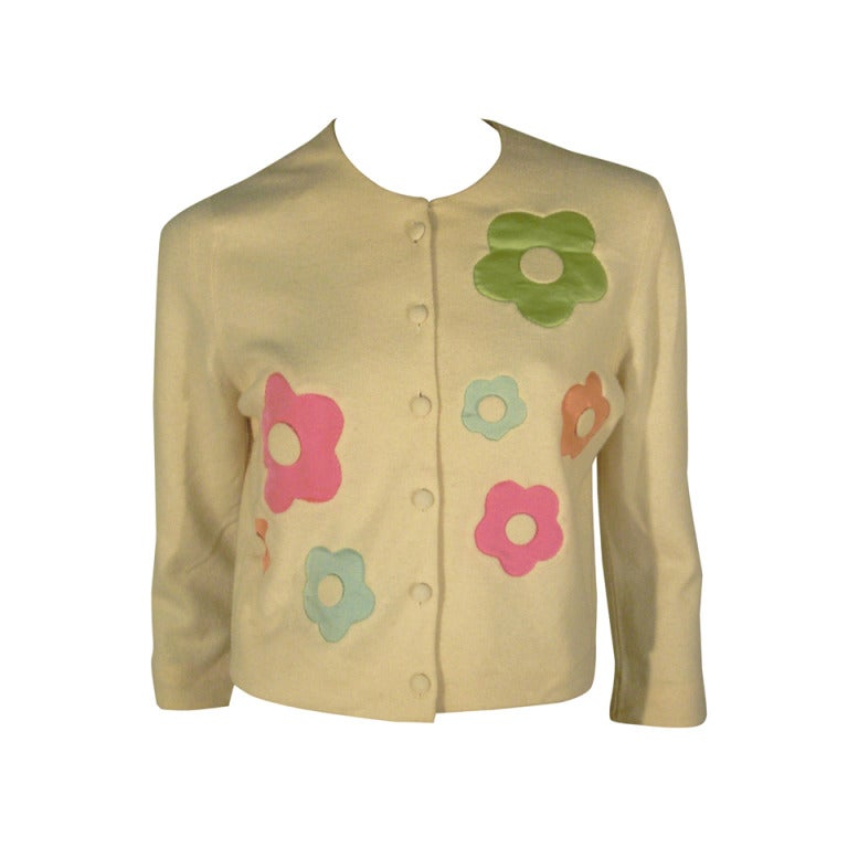 "1960s I. Magnin Cashmere ""Flower Power"" Cardigan Sweater 1"