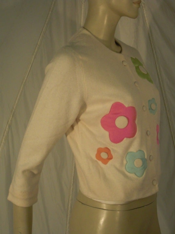 "1960s I. Magnin Cashmere ""Flower Power"" Cardigan Sweater 2"