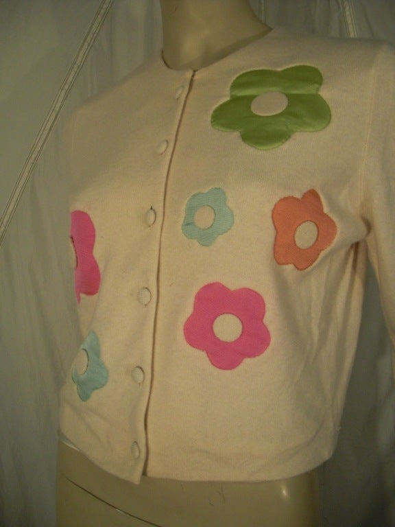 "1960s I. Magnin Cashmere ""Flower Power"" Cardigan Sweater 5"