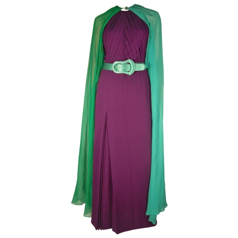 1980s Galanos Aubergine Pleated Gown w/ Pistachio and Mint Green Overlay and Belt 1