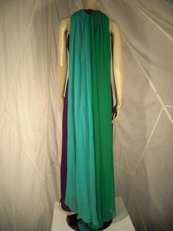 1980s Galanos Aubergine Pleated Gown w/ Pistachio and Mint Green Overlay and Belt 2