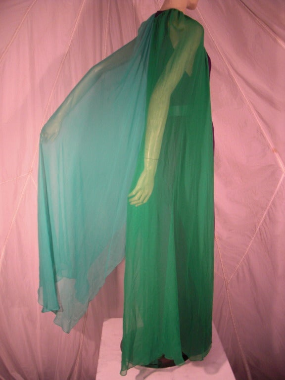 1980s Galanos Aubergine Pleated Gown w/ Pistachio and Mint Green Overlay and Belt 3