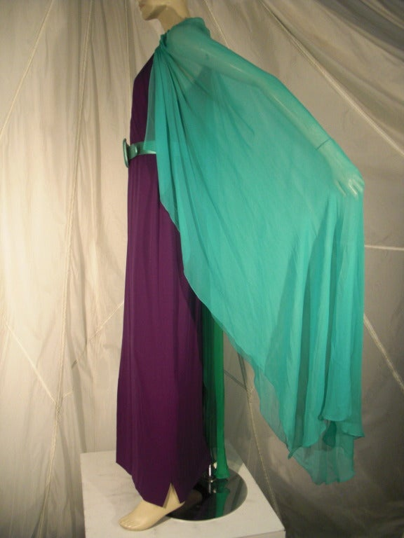 1980s Galanos Aubergine Pleated Gown w/ Pistachio and Mint Green Overlay and Belt 4