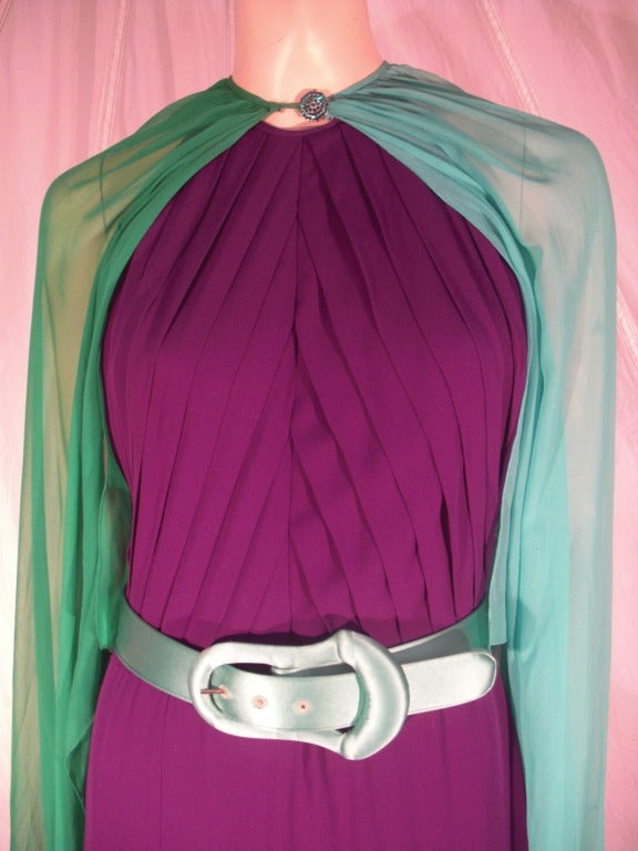 1980s Galanos Aubergine Pleated Gown w/ Pistachio and Mint Green Overlay and Belt 5