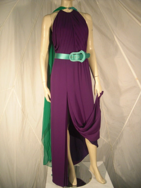 1980s Galanos Aubergine Pleated Gown w/ Pistachio and Mint Green Overlay and Belt 6