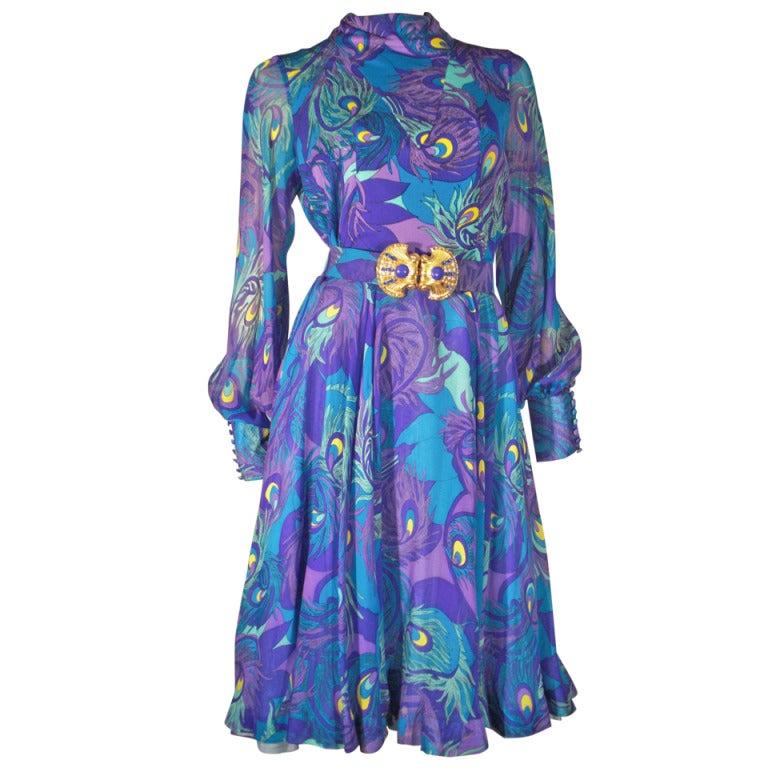 1970s La Mendola Silk Jersey and Chiffon Abstract Peacock Print Cocktail Dress