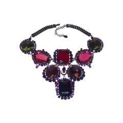 Dior Jewel-Tone Rhinestone 60s-Style Bib Necklace