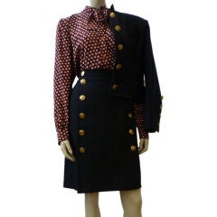 Yves Saint Laurent 1970s Wool Military Skirt Suit