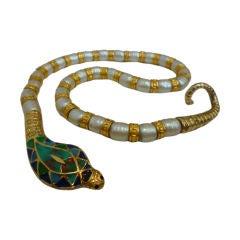 60s Egyptian Revival Style Snake Necklace - Hattie Carnegie