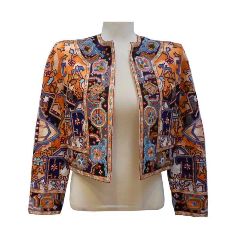 Amen Wardy amazing amen wardy hand-embroidered cropped jacket at 1stdibs