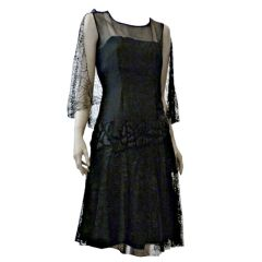 1920s Silk Chiffon and Lace Cocktail Dress w/ Quilted Detail