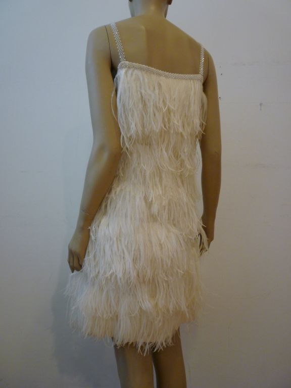 1960s French Ostrich Feather Cocktail Dress At 1stdibs