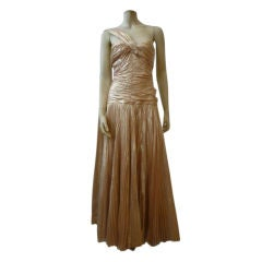 Hardy Amies Gold Silk Tissue Lamé  Gown