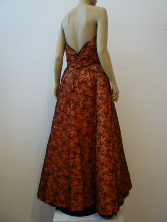 Couture Dior 1950s Silk Taffeta and Lace Ballgown 3
