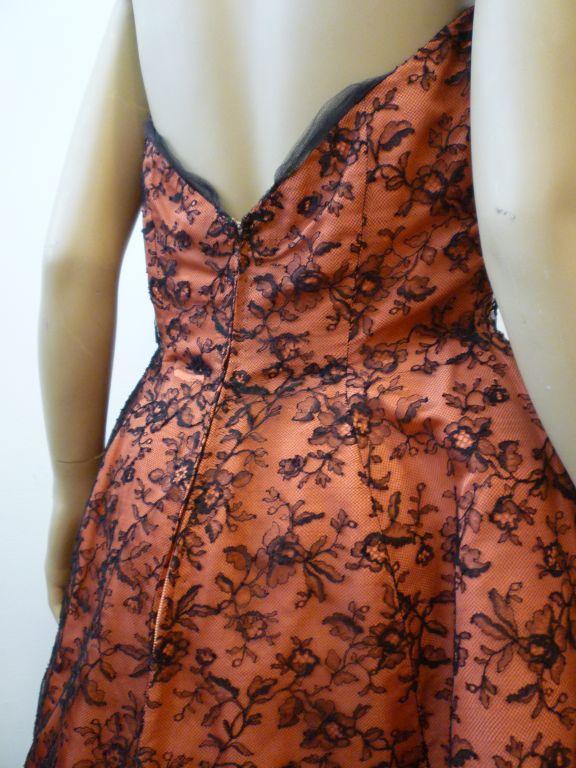 Couture Dior 1950s Silk Taffeta and Lace Ballgown 5