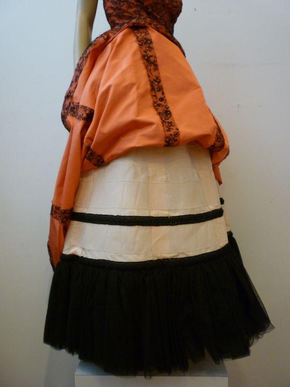 Couture Dior 1950s Silk Taffeta and Lace Ballgown 6