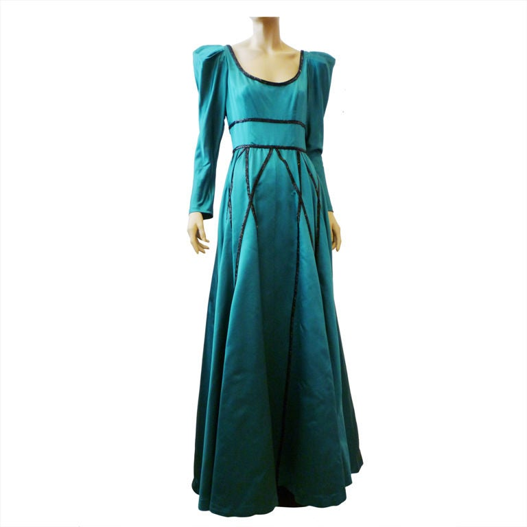 Stavropoulos 70s Satin Gown with Jet Bead Trim