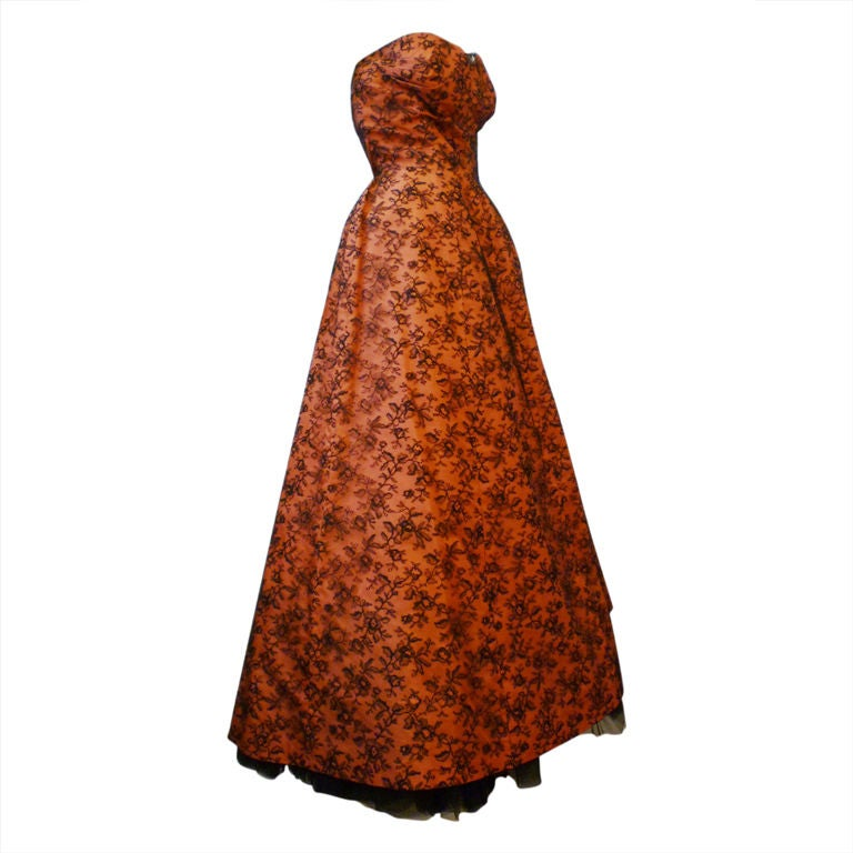 Couture dior 1950s silk taffeta and lace ballgown for sale for Dior couture dress price