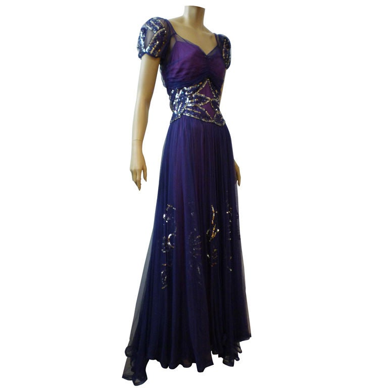 Spectacular Late 30s Sequined Tulle Evening Gown at 1stdibs