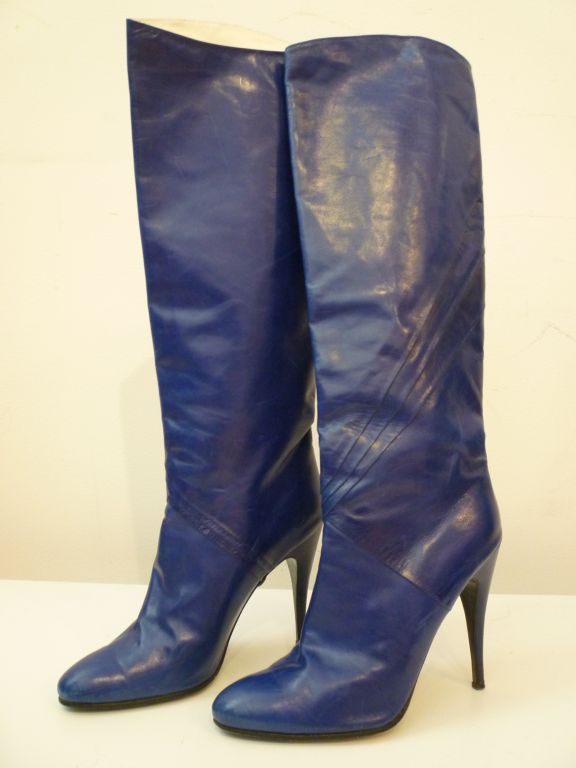 80s Indigo Blue Stiletto Boots from Paris 2
