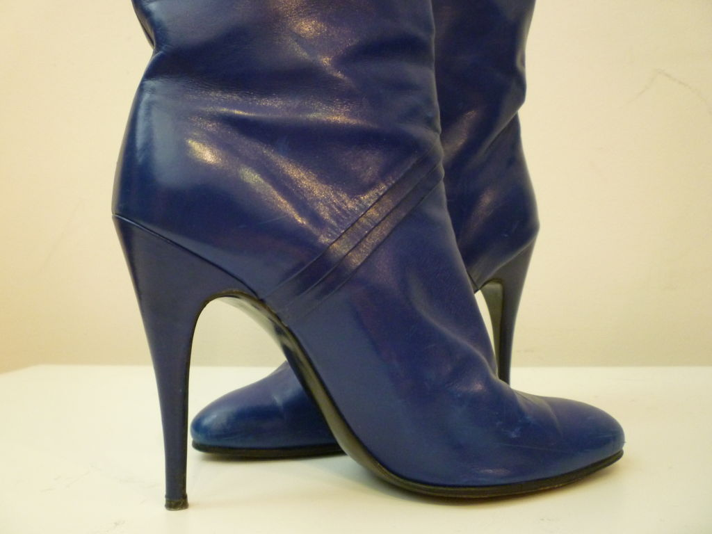 80s Indigo Blue Stiletto Boots From Paris For Sale At 1stdibs