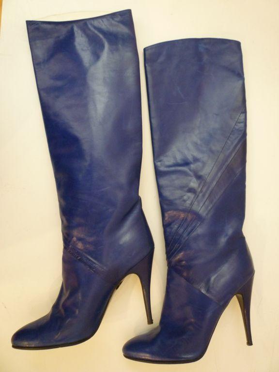 80s Indigo Blue Stiletto Boots from Paris 5
