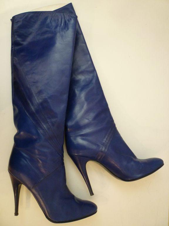 80s Indigo Blue Stiletto Boots from Paris 7
