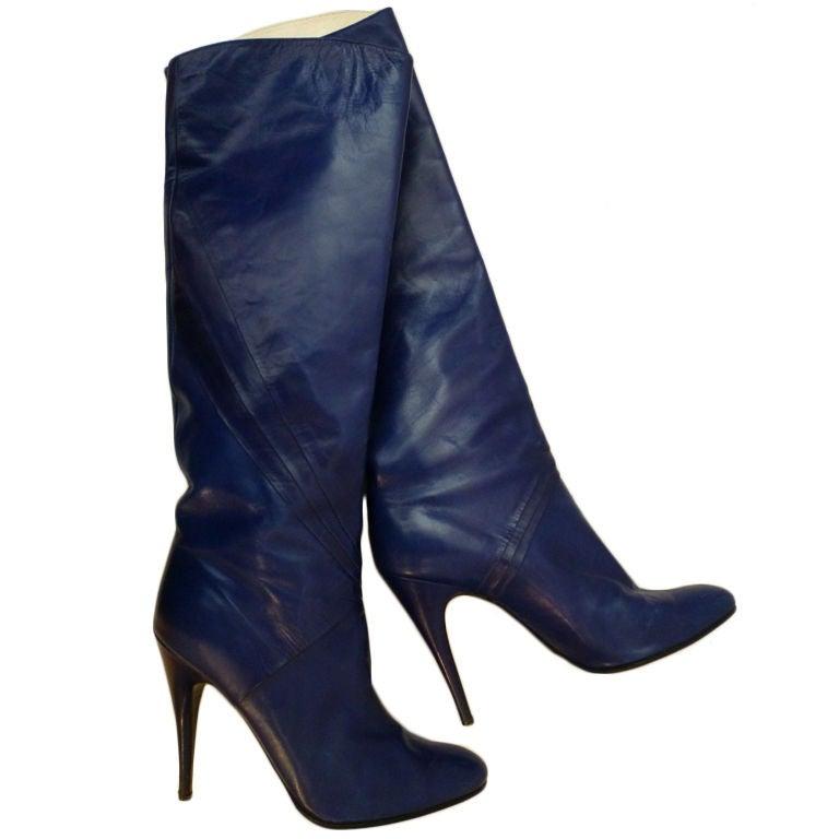 80s Indigo Blue Stiletto Boots from Paris 1