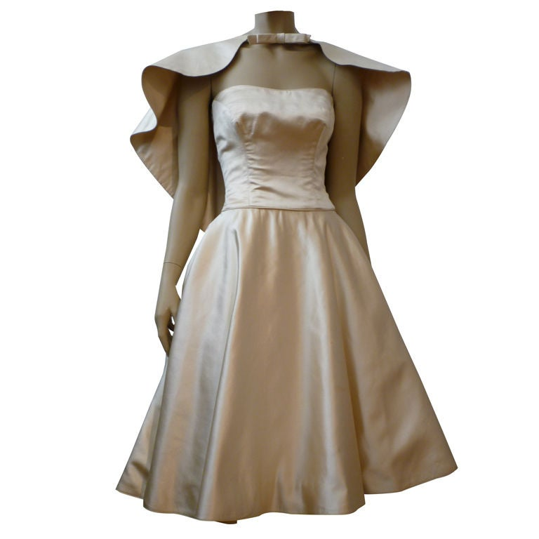 Don Loper Silk Satin Dress w/ Capelet