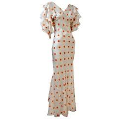 30s Polka-Dot Chiffon Bias Gown