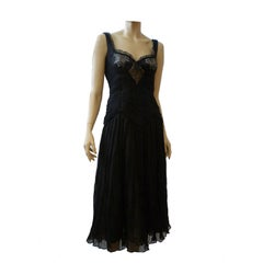 Alexander McQueen Ruched Chiffon Dress with Lingerie Lace Insets