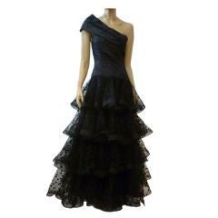 Scaasi One-Shoulder Tiered Point d'Esprit Tulle Gown