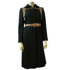 60s Mod Wool Coat with Printed Calfskin Insets