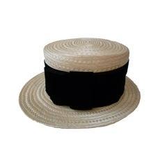 Chanel Straw Boater Hat w/ Velvet Band