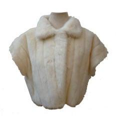 70s White Mink Short Sleeved Jacket