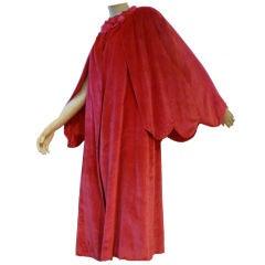 1920s Fuchsia Silk Panne Velvet Opera Coat with Capelet