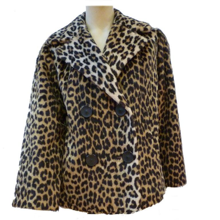 d38655396997 Super 60s Kilimanjaro Faux Leopard Pea Coat at 1stdibs